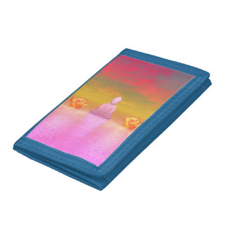 buddha pink and water lily orange trifold wallets