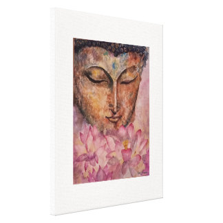 Buddha Pink Lotus Watercolor Canvas Print 16x20