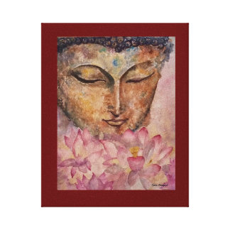 Buddha Pink Lotus Watercolor Canvas Print 8x10