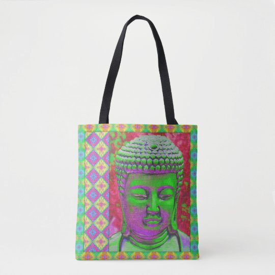 Buddha Pop in Green and Red Tote Bag