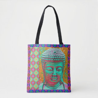 Buddha Pop in Green, Yellow, Red, Blue, Magenta Tote Bag