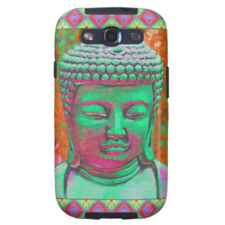 Buddha Pop with Patchwork Borders in Green and Red Samsung Galaxy S3 Covers