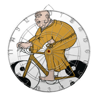 Buddha Riding A Bike With Yin Yang Wheels Dart Board