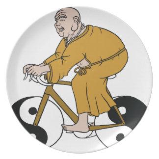 Buddha Riding A Bike With Yin Yang Wheels Dinner Plates