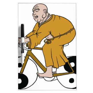 Buddha Riding A Bike With Yin Yang Wheels Dry Erase Board