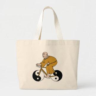 Buddha Riding A Bike With Yin Yang Wheels Large Tote Bag