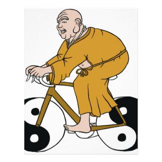 Buddha Riding A Bike With Yin Yang Wheels Letterhead
