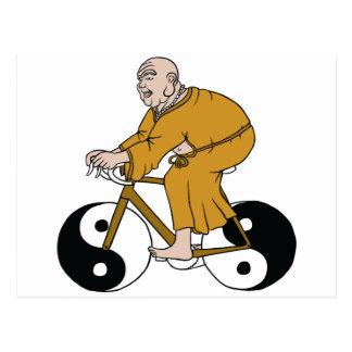 Buddha Riding A Bike With Yin Yang Wheels Postcard