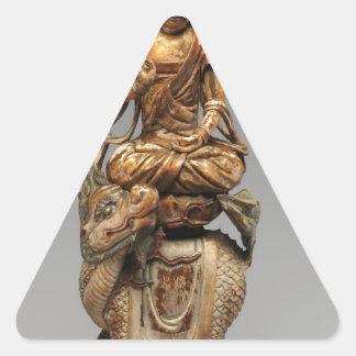Buddha Shakyamuni with attendant bodhisattvas Triangle Sticker