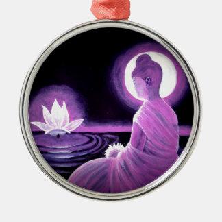 Buddha Silver-Colored Round Ornament
