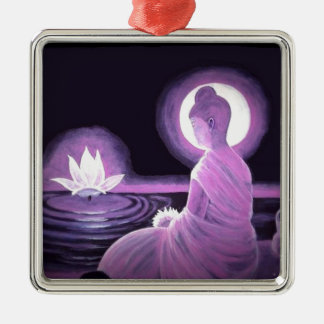 Buddha Silver-Colored Square Ornament