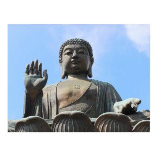 Buddha Statue in Blue Sky, Hand Raised Postcard