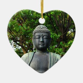 Buddha statue in Tokyo, Japan Ceramic Heart Ornament