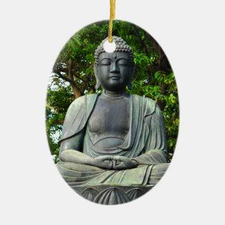Buddha statue in Tokyo, Japan Ceramic Oval Ornament