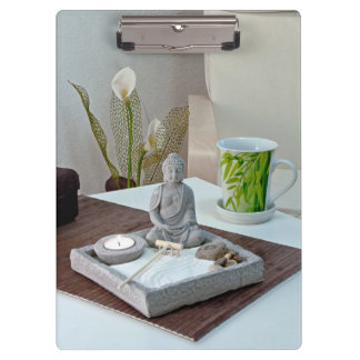 Buddha Statue in Zen Rock Garden Clipboard