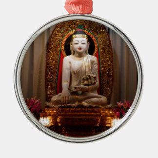 Buddha Statue  Lotus position Tibetan Silver-Colored Round Ornament