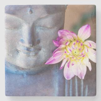 Buddha statue with dahlia stone coaster