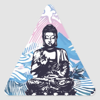 Buddha Tropical Mountain Wave Triangle Sticker