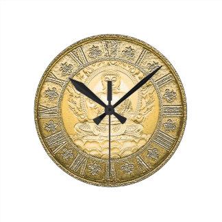 Buddha Vintage Gold Look Round Clock