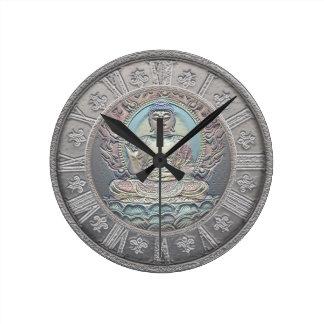 Buddha Vintage Silver Look Round Clock
