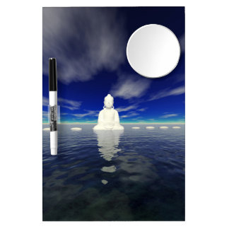 buddha white and steps dry erase board with mirror