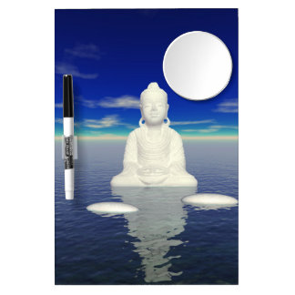 buddha white and two steps dry erase board with mirror