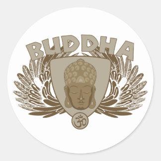 Buddha Winged Emblem Classic Round Sticker
