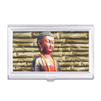 Buddha with Bamboo Business Card Holders