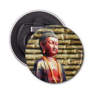 Buddha with Bamboo Button Bottle Opener