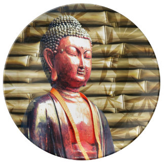 Buddha with Bamboo Porcelain Plate