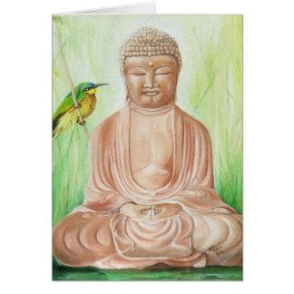 Buddha with Bee Catcher Bird Card