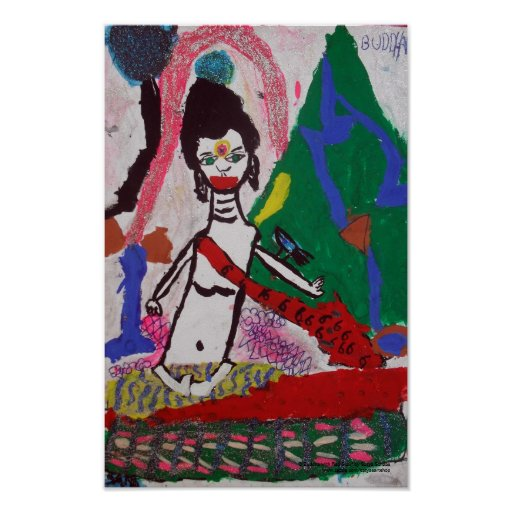 Buddha with Red Scarf Poster