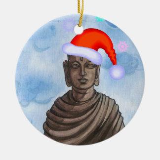 Buddha with Santa hat II Ceramic Ornament