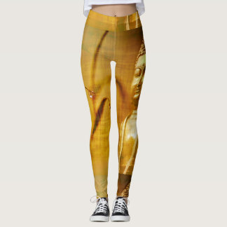 Buddha Yoga Meditation Bamboo Gold Leggings