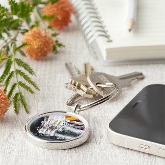 Buddha's Hand Silver-Colored Round Keychain