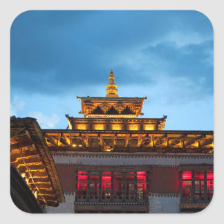 Buddhist Dzong Roof Square Sticker
