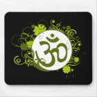 Buddhist Green Floral Om Mouse Pad