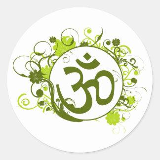 Buddhist Green Floral Om Round Sticker