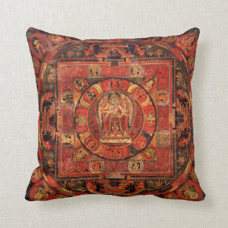 Buddhist Mandala of Compassion Throw Pillow