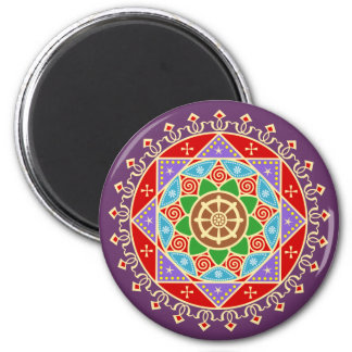 Buddhist Mandala Pattern with Dharma Wheel Magnet