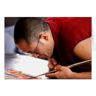 Buddhist Monk Creating Mandala Card