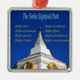 Buddhist Noble Eightfold Path Silver-Colored Square Ornament