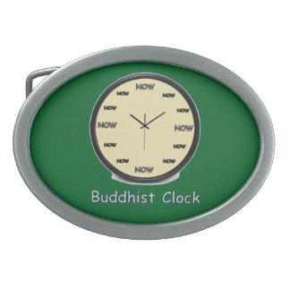Buddhist Now Clock Oval Belt Buckle