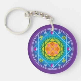 Buddhist Om, Dharma Wheel & Yin Yang Mandala Double-Sided Round Acrylic Keychain
