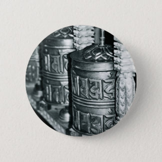 Buddhist prayer wheels 2 inch round button