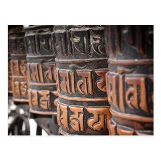 Buddhist prayer wheels postcard