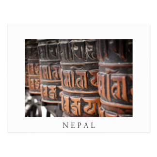 Buddhist prayer wheels white postcard
