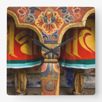 Buddhist praying role, bhutan square wall clock