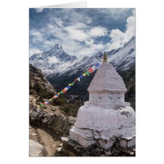 Buddhist Shrine & Prayer Flags, Himalaya Mountains Card