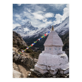 Buddhist Shrine & Prayer Flags, Himalaya Mountains Postcard